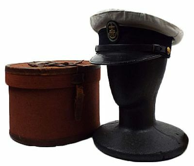 WW2 Imperial Japanese Navy Officer Visor Hat With Box about 22 Inch F/S From JPN