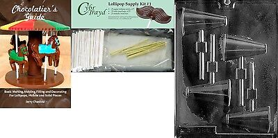 Cybrtrayd Megaphone Lolly Chocolate Mould with Chocolatier's Bundle, Includes
