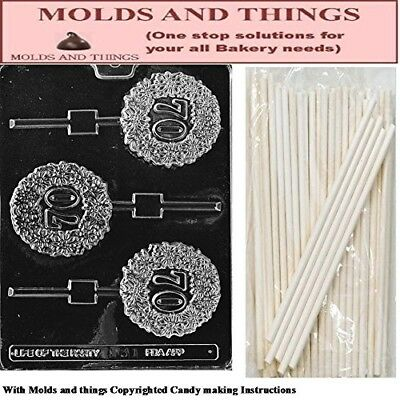 70TH Lolly numbers and letters Chocolate candy mould © Moulding Instruction+