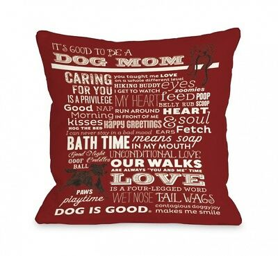 """(18 by 18-Inch"""",""""Red) - Bentin Pet Decor Proud to Be a Dog Mom Throw Pillow"""
