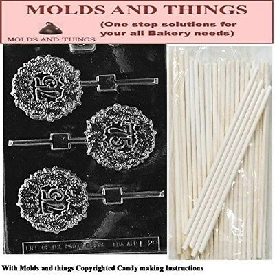 75TH Lolly numbers and letters Chocolate candy mould © Moulding Instruction+