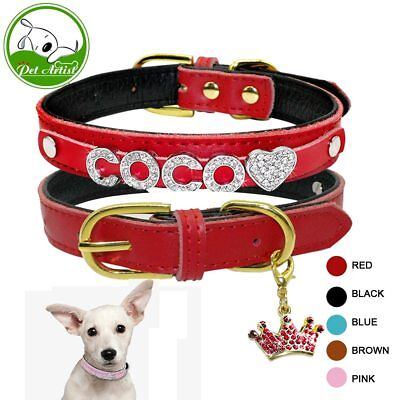 PetArtist® Personalized Padded Leather Customized Puppy Dog Pet Cat Collars