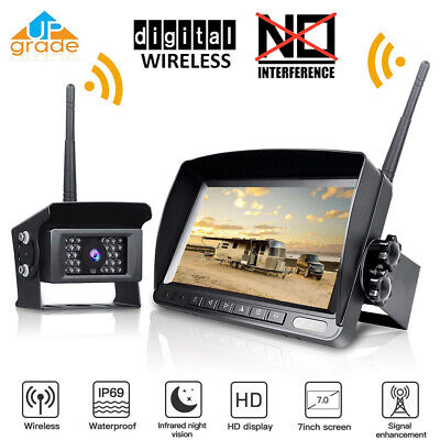 "Wireless 7 ""Monitor Rear/Side View Backup System 4*Camera For Truck RV Trailer"
