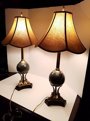 Hollywood Regency Art Deco Revival Brass Dolphins Marble Leather Desk Lamp -Pair