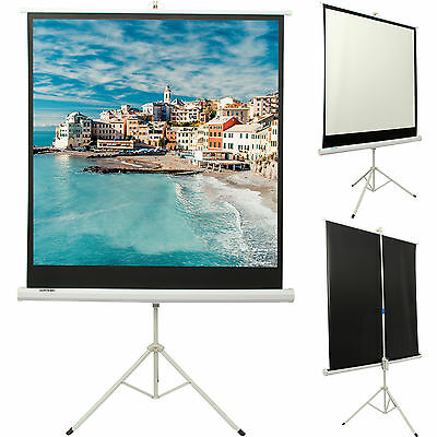 Portable 125x 125cm Tripod HD Projection Screen Matte Pull Down Projector Cinema