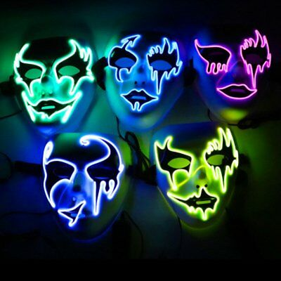 LED Mask Halloween Grimace Masquerade Horror Light up Clown Cosplay E Type@AB