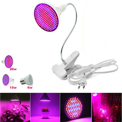 E27 LED Growth Light Bulb Plant Growing Lamp Flexible Desk Holder Clip Garden