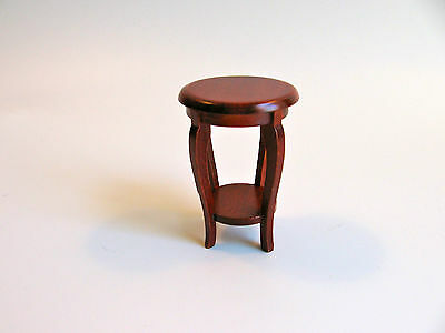 dollhouse doll house miniature ROUND SIDE TABLE WOOD MAHOGANY