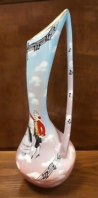 Super KITSCH Mid-Century Italian ceramic Vase/Jug Musical Notes & Dancers