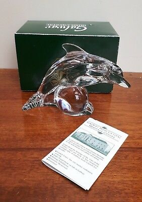 Galway Irish Crystal Dolphin Figurine - Boxed + Booklet