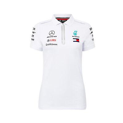 Damen Polo Shirt Weiß Mercedes AMG Petronas F1 Team 2018 L