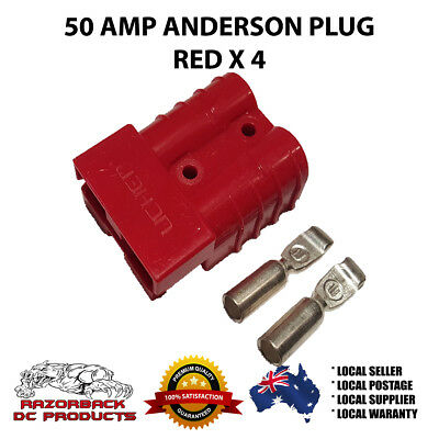 4 X 50 AMP Anderson  Premium RED Connector Exterior DC Power SOLAR CARAVAN NEW