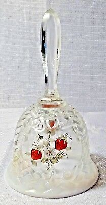 Bell Fenton Glass Etched Glass Hand Painted Strawberry Bell Original Sticker