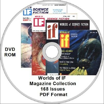 Worlds of IF Science Fiction Magazine Collection 168 issues DVD ROM Asimov sc fi