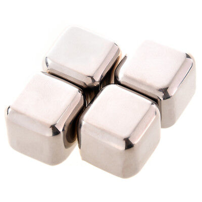 3X(4Pcs Whiskey Wine Beer Stones 440C Stainless Steel Cooler Stone Whiskey A2U5