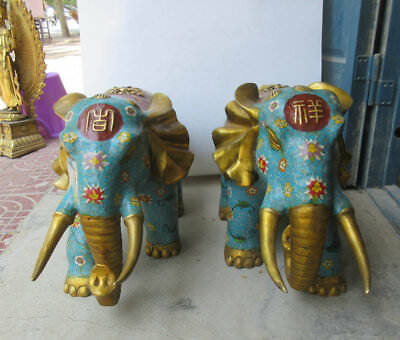 """27"""" A pair china old Cloisonne Bronze gold elephant lucky statue Ornament"""