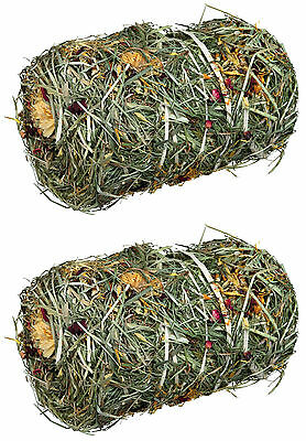 x2 Natural Hay Bale with Flower Mix Food for Small Rodents & Rabbits 2 x 200g