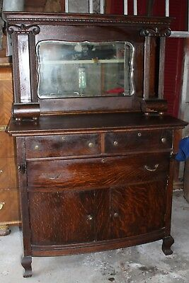 Antique Sideboard Buffet Early 1800's w/ Beveled Mirror