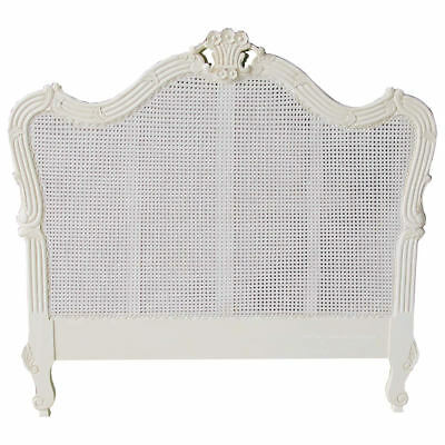 "Antique White Mahogany TALL 163cm French Style Rattan Headboard 4'6"" + King"