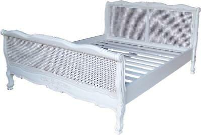 """4'6"""" Double Size Waxed Solid Mahogany Antique White Wooden Bed Frame Rattan"""