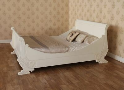 """4' 6"""" UK Double Size Antique White Hotel Quality Sleigh Bed Solid Mahogany"""