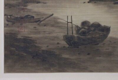 Vintage Japanese Painting on Silk Mt Fuji in Orig Bamboo Style Frame Signed 1957
