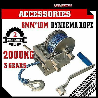 2000kg Hand Winch Dyneema Rope 3speed- Boat Car Marine Trailer Express Post