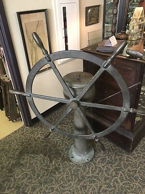 Dake Engine Mich. nautical Co. steering station Brass ship's wheel Brass Helm