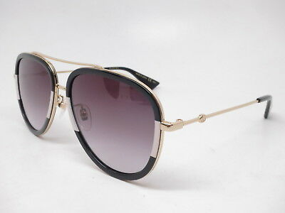8cfb6ef943 New Authentic Gucci GG0062S 006 Black Gold w Grey Gradient Sunglasses GG  0062S