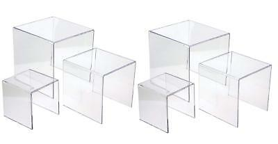 Jusalpha 3'' 4'' 5'' Clear Acrylic Display Riser Jewelry Showcase Fixtures, Food