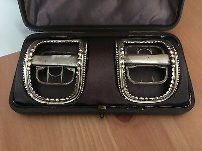 Georgian, George III, cased pair silver shoe buckles, London 1795 J. Edwards III