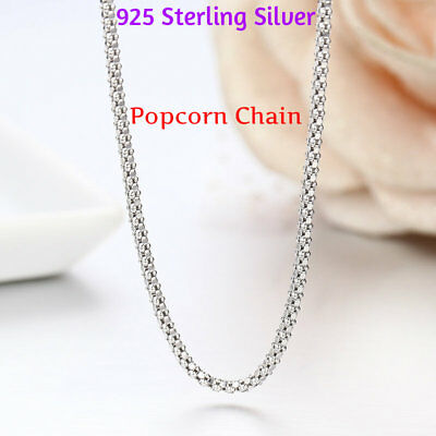 1.8MM Solid 925 Sterling Silver Italian POPCORN CHAIN Necklace Italy Real Silver