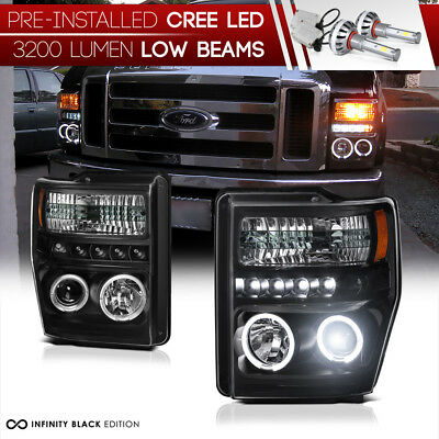[BUILT-IN LED LOW BEAM] 2008-2010 Ford F250 F350 F450 SD Black Halo Headlamp L+R