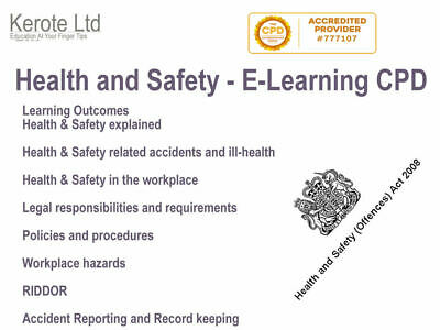 Health And Safety RIDDOR Training E-Learning CPD Accredited Course + Certificate