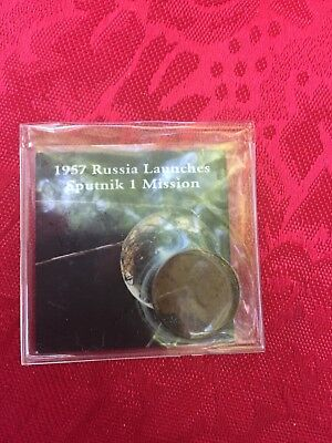 1957 Cent Coin And Sputnik 1 Mission Holder