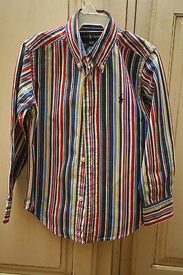 Boys RALPH LAUREN Red Blue Yellow White Striped LS Dress Shirt EASTER 3/3T EUC