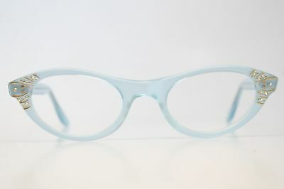 Baby Blue Rhinestone Vintage Cat Eye Glasses Unused 1960s New Old Stock