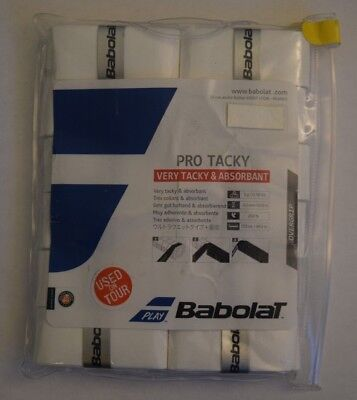 Babolat Pro Tacky Tennis Overgrip 12 Pack - White - Very Tacky & Absorbant New