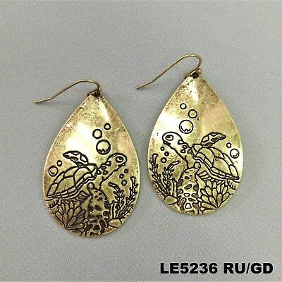 Gold Finished Sea Turtle Design Engraved Tear Drop Shape Drop Dangle Earrings