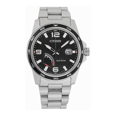 NEW Citizen PRT Eco-Drive AW7030-57E Stainless Steel Black Dial Men's Watch