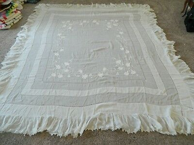 Vtg Irish crewel embroidered ruffle linen bed table