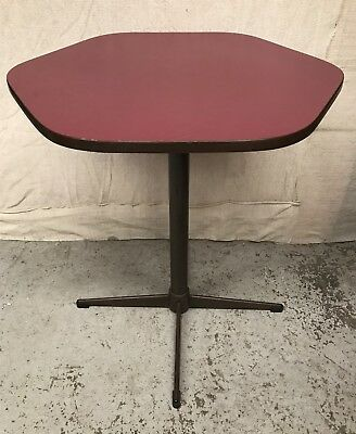 VINTAGE 1960s Retro BURGUNDY LAMINATE BAR TABLE  Heavy Metal Base Round Hexagon