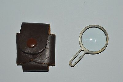Antique Magnifying Glass Loupe Very Small Brass Leather Holster Pocket Size