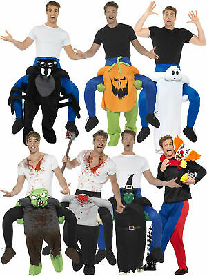 Adults Halloween Piggy Back Costume Mens Fancy Dress Funny Ride On Clown Scary