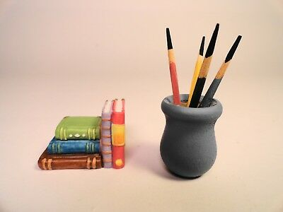 Dollhouse Miniature Awsome 2 pc Back To School Porcelain BOOKS & PAINT BRUSH JAR
