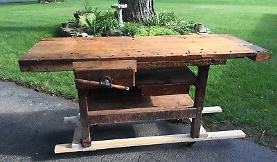 Antique Carpenters Workbench / Kitchen Island Table 1 Screw Vice ~ Western NY