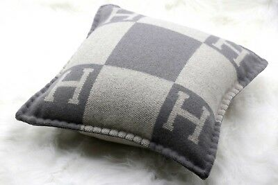 Authentic Hermes Wool Cashmere Avalon H Cushion Pillow Small model Gray