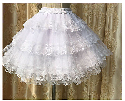New White Lolita Princess Lace tutu bottoming skirt Pannier Bustle Petticoat