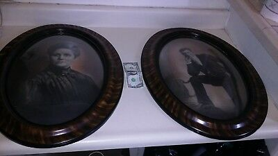 """LOT OF 2. 24""""  ANTIQUE Oval Tiger Wood Domed Bubble  Framed PICTURES. LOGUE FAM."""