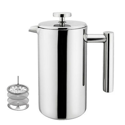 3-Cup 12OZ Double Wall Stainless Steel French Coffee Press Maker Double Screens